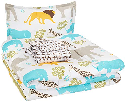 AmazonBasics Easy-Wash Microfiber Kid's Bed-in-a-Bag Bedding Set - Twin, Multi-Color Zoo Animals