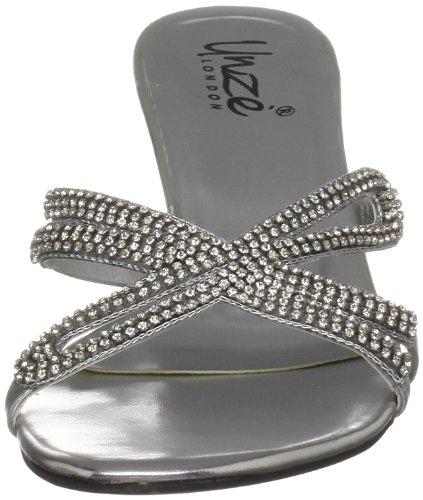 Unze Evening Slippers L18158W - Sandalias para mujer Plateado
