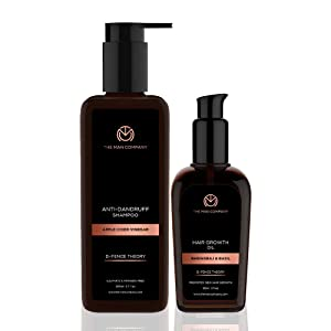 THE MAN COMPANY Natural Hair Regrowth Set for men - Apple Cider Vinegar Shampoo (6.7 oz), Ayurvedic Hair Growth Oil (3 oz) - Boosts New Hair Growth - Paraben Free, Sulfate Free
