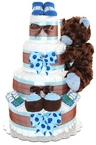 Brown Teddy Bear Classic Diaper Cake - Baby Gift For Baby Shower - Makes A Perfect Centerpiece For A New Baby Celebration (Blue)