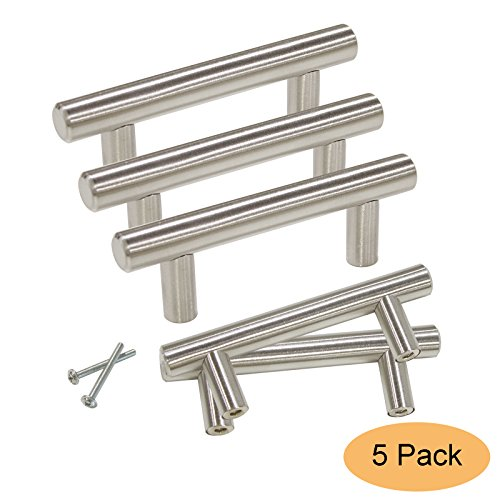 Gobrico GB201HSS64 Stainless Steel Cabinet Pull Handle for Furniture Drawer Cupboard Dresser T-bar (Hole Center:64mm/2.5in,5 Pack) - Furniture Handles