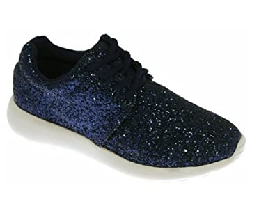 LADIES BLUE RUNNING TRAINERS SEQUIN FITNESS GYM SPORTS LACE UP SHOES SIZE UK 3