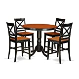East West Furniture TRQU5-BLK-W 5 Piece Counter Height Small Kitchen Table and 4 Bar Stools with Backs Set