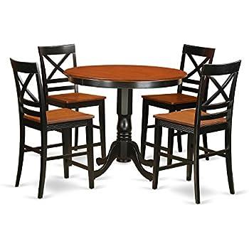 Amazon.com: East West Furniture JAKE5-BLK-W 5 Piece High