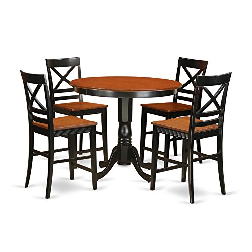 Cherry Veneer Pub Swivel Stool - East West Furniture TRQU5-BLK-W 5 Piece Counter Height Small Kitchen Table and 4 Bar Stools with Backs Set