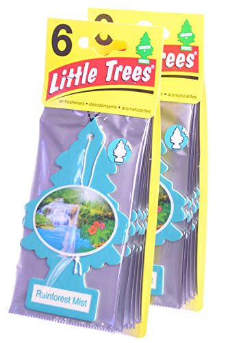 Rainforest Freshener Air (Little Trees Cardboard Hanging Car, Home & Office Air Freshener, Rainforest Mist (Pack of 12))