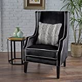 Cheap Edell Traditional Black Velvet Two Toned Club Chair with Pearl Accent Pipping