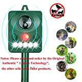 LANSONTECH Ultrasonic Pest Repeller, Solar Powered Waterproof Outdoor Animal Repeller with Ultrasonic Sound,Motion