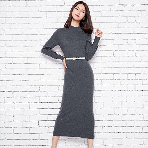 Suéter Vestido Larga Manga Color de DHG S Do Salvaje Largo Primavera de de Sólido PIZqxZd