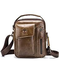 Mens Small Shoulder Bag, E Ekphero Genuine Leather Bag, Retro lightweight Cross Body Everyday Satchel Bag for...