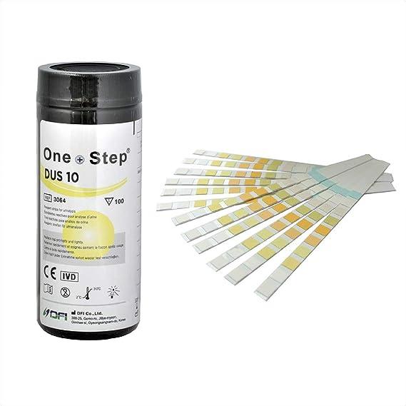 1000 Tiras reactivas de analisis de orina de 10 Parámetros: Leucocitos, nitritos, urobilinógenos, proteínas, pH, sangre, densidad, cetona, bilirrubina ...