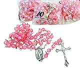 Girls Rosary Bulk Lot Acrylic Faceted Set for Students or Church Groups Pink Rosaries, 10