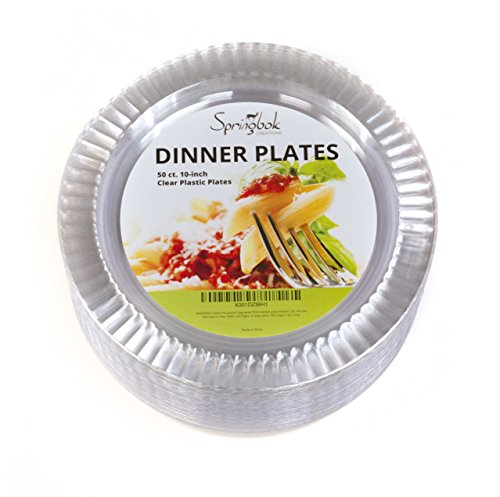 50 Disposable Clear Plastic Dinner Plates (10-inch) -