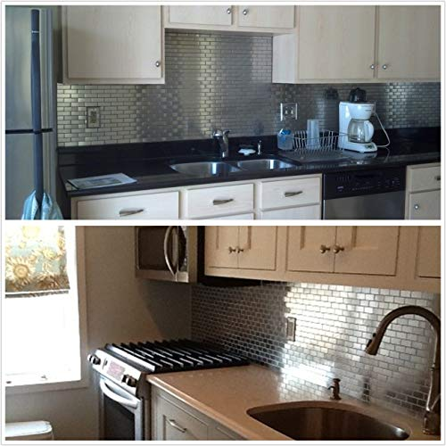 HomeyStyle Subway Stainless Steel Peel and Stick Tile Backsplash for Kitchen Bathroom Stove Self-Adhesive Metal Mosaic Tiles Wall Decor Sticker,5 Tiles x 12''x12'' by HomeyStyle (Image #5)