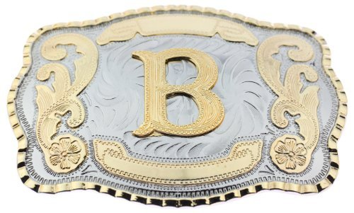 Initial Letters Western Style Cowboy Rodeo Gold Large Belt Buckles (Large Square, B LETTER) - Texas Flag Belt Buckle