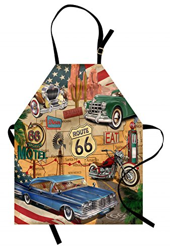Lunarable Route 66 Apron, Old Fashioned Cars Motorcycle on A Map Road Trip Journey American USA Concept, Unisex Kitchen Bib Apron with Adjustable Neck for Cooking Baking Gardening, -