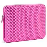 Laptop Sleeve, Evecase 13.3'' ~ 14'' Laptop / Chromebook/ Ultrabook Notebook PC Diamond Foam Splash & Shock Resistant Neoprene Sleeve Case Travel Bag, Hot Pink