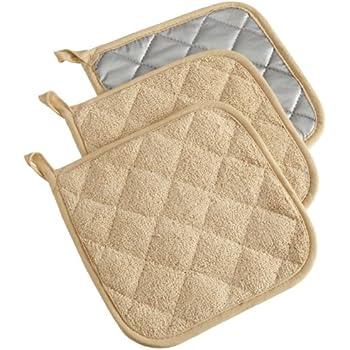 DII 100% Cotton, Terry Pot Holder Set Machine Washable, Heat Resistant, 7 x 7, Pebble, 3 Piece
