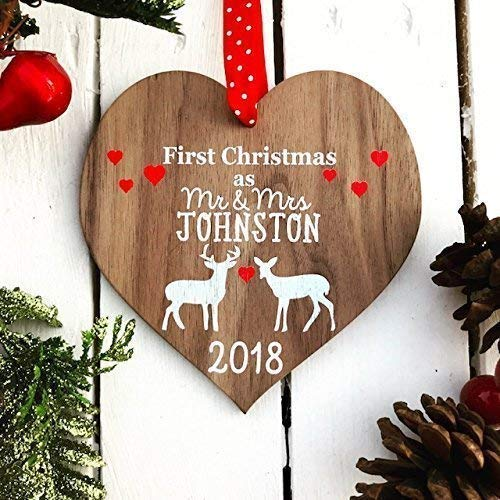 first christmas as mr and mrs decoration bauble personalised married wood tree for 1st wedding