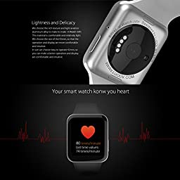 LUOOV Men and Women Bluetooth Smart Watch Camera Sport Fitness Wrist Waterproof Wireless Phone Watch bluetooth smart watch for android iphone (Black)
