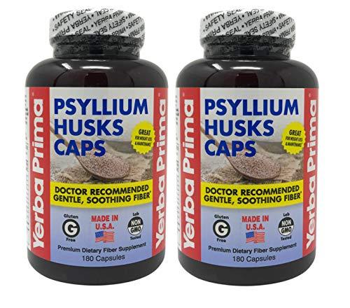 Yerba Prima Psyllium Husks Caps for Regularity and Heart Health, 180 Capsules (Pack of 2)