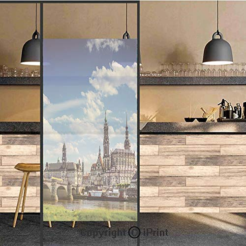 3D Decorative Privacy Window Films,Ancient Town Dresden Old German Architecture Historical European Scenery Image,No-Glue Self Static Cling Glass Film for Home Bedroom Bathroom Kitchen Office 17.5x48