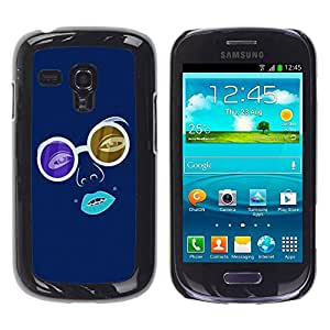 Paccase / SLIM PC / Aliminium Casa Carcasa Funda Case Cover para - Blue Hippy Glasses - Samsung Galaxy S3 MINI NOT REGULAR! I8190 I8190N