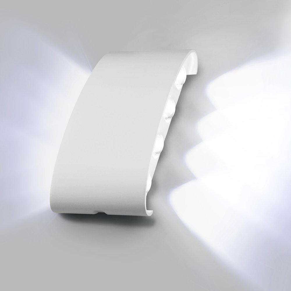 Maxmer Applique da Parete per Esterno o Interni 8W Lampade da Parete Led Impermeabile IP65 Lampada da Muro Moderno Design in Alluminio Bianco (Bianco freddo)