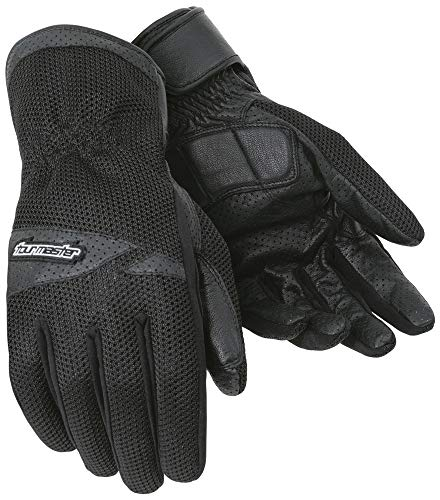 Tour Master Dri-Mesh Mens Leather/Textile Street Bike Racing Motorcycle Gloves - Black / 2X-Large