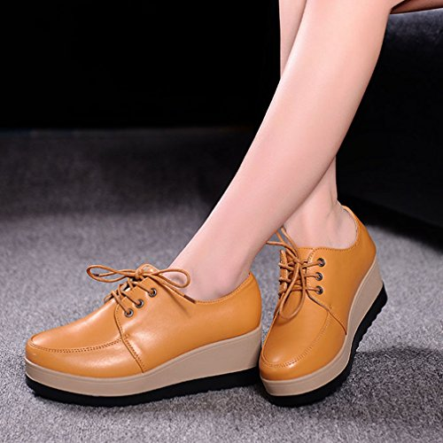 Yellow Wingtip Low Wedge Fashion Womens Oxford Shoes Oxford Hoxekle Platform Vintage Top Shoes Perforated 0nOUT5Wq5