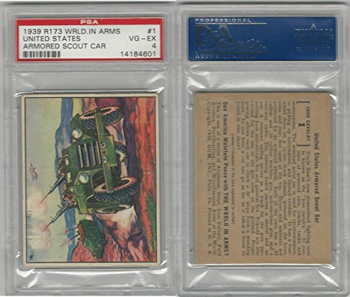 R173 Gum Inc, The World In Arms, 1939, 1 US Armoured Scout, PSA 4 VGEX