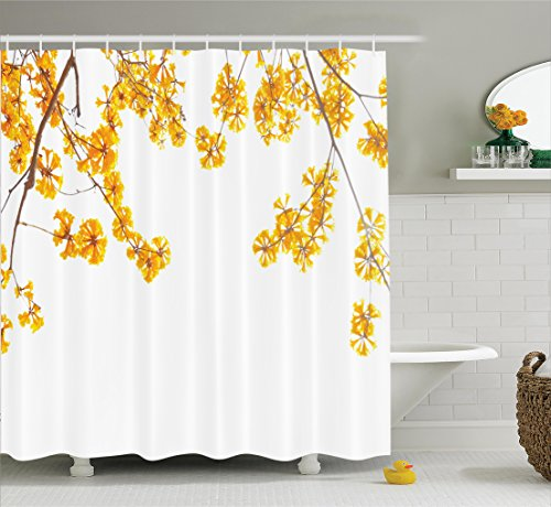 Ambesonne Yellow Shower Curtain, Flower Tree Branches Bloom Blossoming in Spring Garden Sun Rays Nature Theme Home, Fabric Bathroom Decor Set with Hooks, 75 inches Long, Yellow Brown from Ambesonne