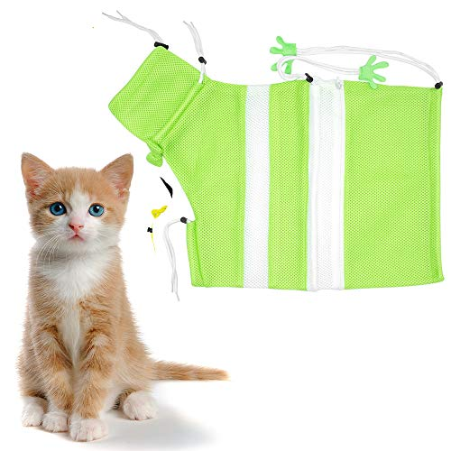 FineInno Cat Grooming Bag Scratching Biting Resisted Bag Pet Washing Bath Bag Adjustable Mesh Breathable for Bathing Shower Injecting Examining Nail Trimming Ear Cleaning (Green White Like ()