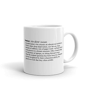 Estudiante definición taza de cerámica, de color blanco 11 oz: Amazon.es: Hogar