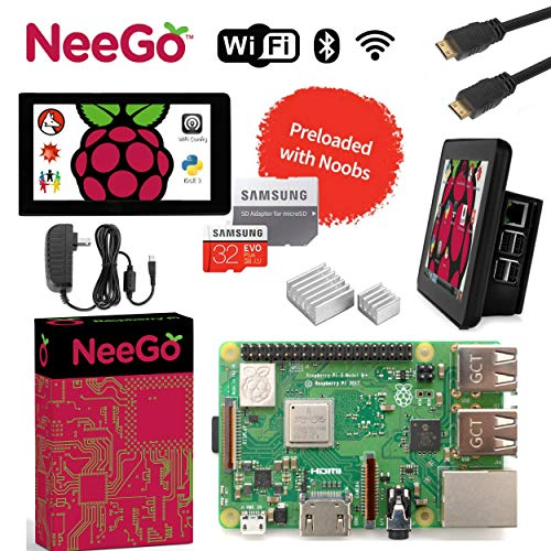 "Raspberry Pi 3 B+ (B Plus) Ultimate Kit - Complete Set Includes Raspberry pi Motherboard, 7"" Touchscreen Display, Power Supply, 32GB SD Card, 2 Heatsinks, Official Case & 6ft HDMI Cable"