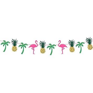 Hacoly Flamingo Wimpel Stoffgirlande Girlande Ananas Kokosnussbaum