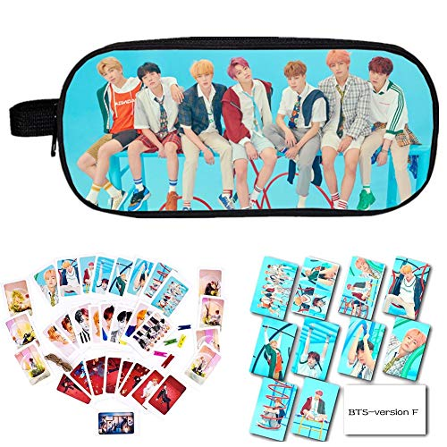 Youyouchard BTS Merchandise Kit BTS Bangtan Boys BTS Love Yourself Answer,Pencil Pen Case/Cosmetic Pouch+BTS Card Sticker+BTS Photocard with Clip and Hemp Rope(Version F1)