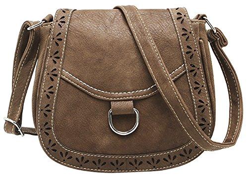 Bag Hobo PU Women's Hollow Brown Front Crossbody Shoulder Bag Messenger Belt Bag 7OawRnq7