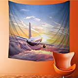 AuraiseHome Popular art tapestry commercial airplane flying above clouds in dramatic sunset light very high Room bedroom living room dormitory decoration32W x 32L Inch