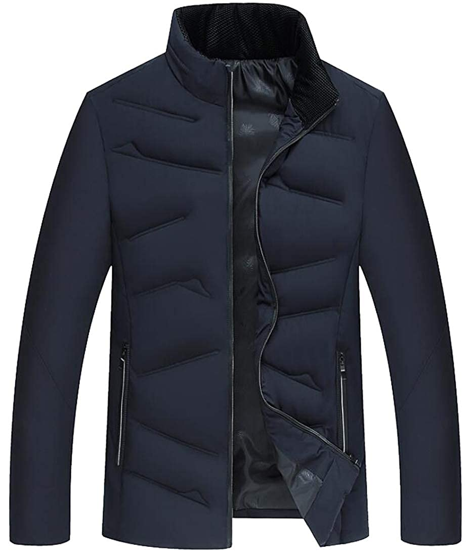 Fubotevic Mens Cotton Fashion Stand Collar Warm Quilted Full-Zip Puffer Jacket