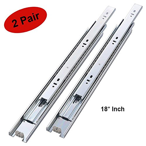 2 Pair of 18 Inch Full Extension Side Mount Ball Bearing Sliding Drawer Slides, Available in 10