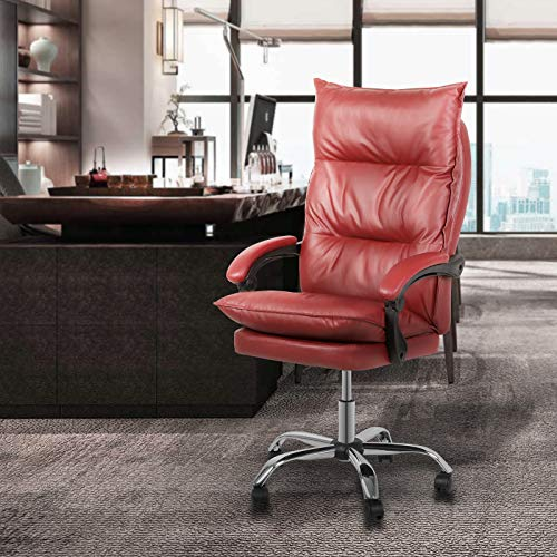 Magshion High-Back Faux Leather Ergonomic Heavy Duty Executive Swivel Office Desk Chair, Wine