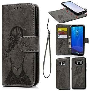 S8Plus caso, 2en 1teléfono móvil, cartera de piel sintética con tapa separable, magnético y desmontable carcasa con relieve de chica Patrón con ranuras para tarjetas y correa de muñeca funda para Samsung Galaxy S8Plus, gris