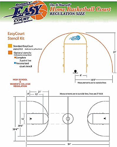 Easy court premium basketball court marking stencil kit for Average basketball court size