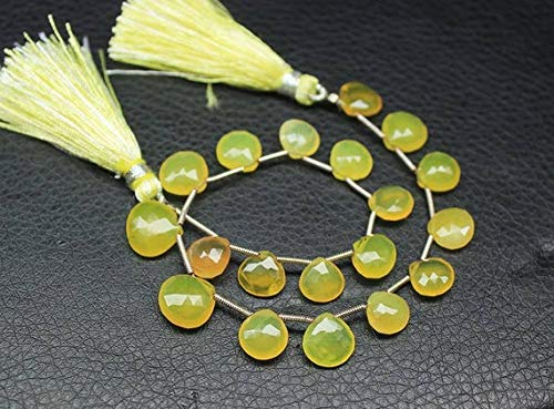 GemAbyss Beads Gemstone Natural Yellow Opal Faceted Briolette Heart Drop Gemstone Loose Craft Beads 8 Inch Long 11mm 8mm ()