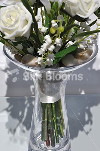Artificial Ivory Foam Rose & Freesia Floral Vase Table Display