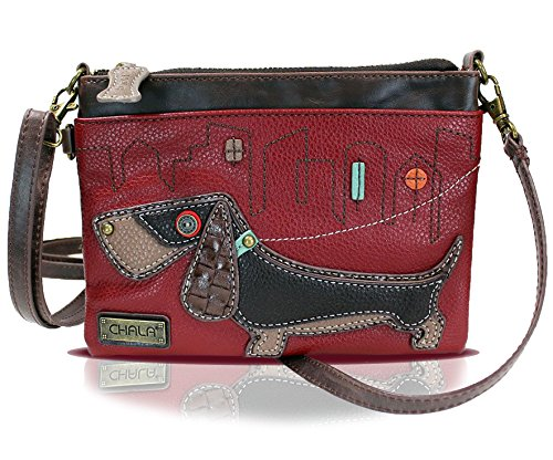 Chala Mini Crossbody Handbag, Multi Zipper, Pu Leather, Small Shoulder Purse Adjustable Strap - Wiener Dog - Burgundy
