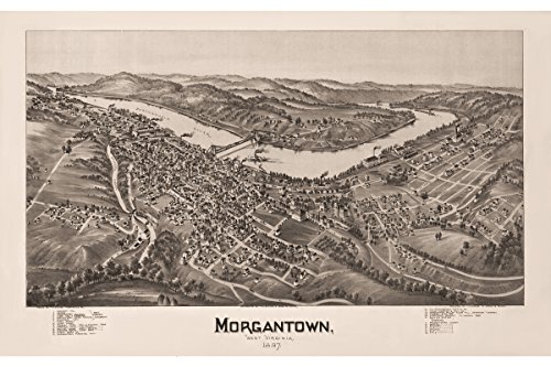 Morgantown, West Virginia. Antique Birdseye Map; 1897