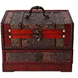 Charminer Retro Antique Flower Carved Wooden Jewelry Storage Box Container Case