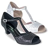 Ladies Large Size 1.5'' heel T-strap canvas with sparkle fabric Ballroom shoe (11, Sparkle Black)
